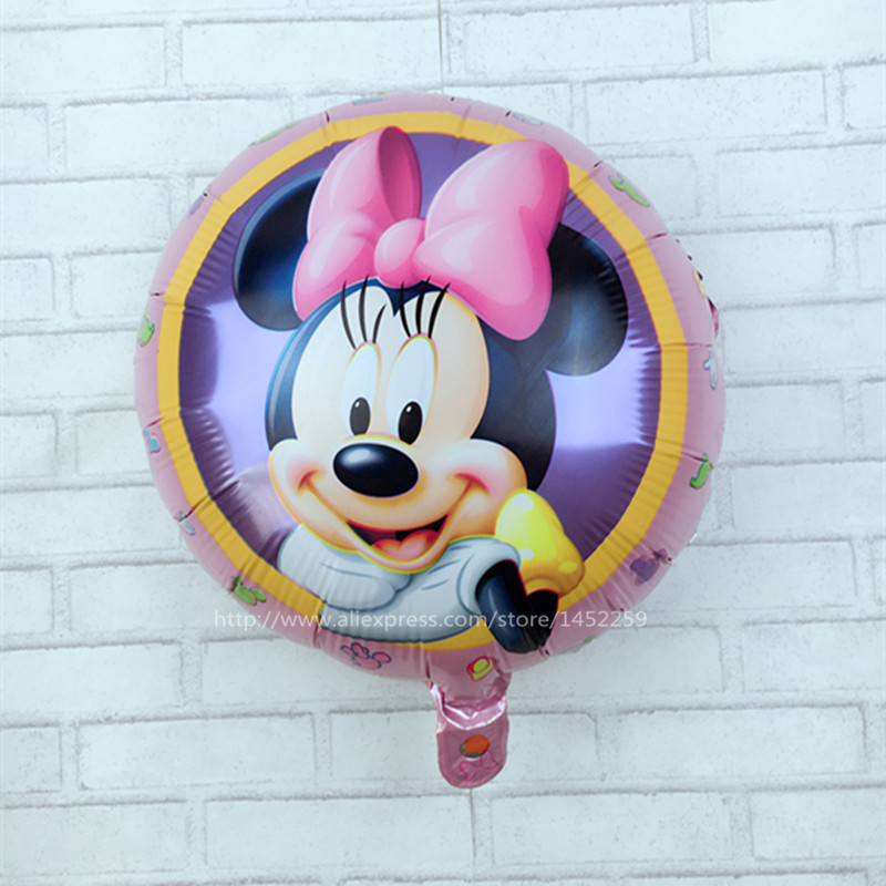 New Recommended! Aluminum balloons wholesale space ball toys for children 18-inch round Minnie Mouse balloon wholesale(China (Mainland))