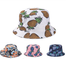 Pineapple Printed Bucket Hats For Women Girls Men 2014 New Fashion Lovely Summer Casual Cotton Fishing Hats(China (Mainland))