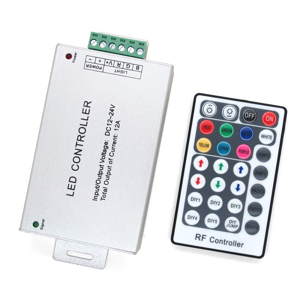 10pcs/lot 12A DC 12V 24V RGB LED Dimmer RF Wireless Remote Controller 28 keys 433Hz Remote Control Output For Led strip Light(China (Mainland))