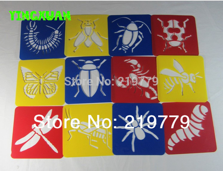 Clearance Sale 12pcs/set Washable Drawing Stencil Kids Plastic Picture Template Set Children Insects - YINGXUAN TOYS RETAILS & store