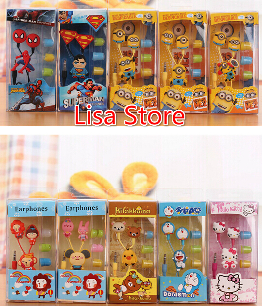 Free EMS 100 Pieces Cute Mixed 3.5mm Cartoon Earphone Earbud Earbuds For PC MP3 MP4 DSI With Retail Boxes(China (Mainland))