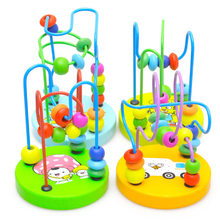 1Pcs Early Learning Toy Children Kids Baby Colorful Wooden Mini Around Beads Educational Mathematics Toy Model Building Kit FCI#(China (Mainland))
