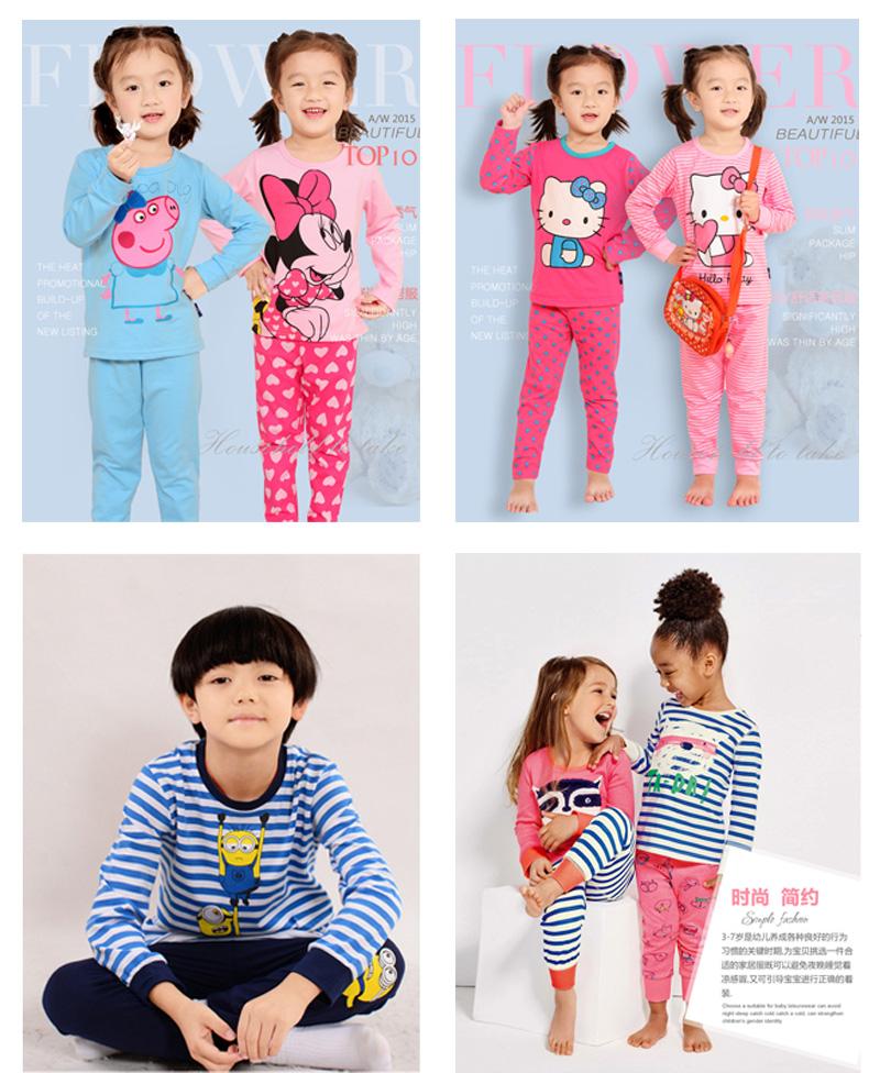 Quality Kids Pajamas Baby Girls Boys Sleepwear Minnie Minions PJS Cartoon Pijamas Children Pyjama Garcon Clothing