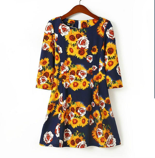2015 European American style fashion half sleeve cute dress women Sunflower print elegant party dresses plus size clothing uk 7(China (Mainland))
