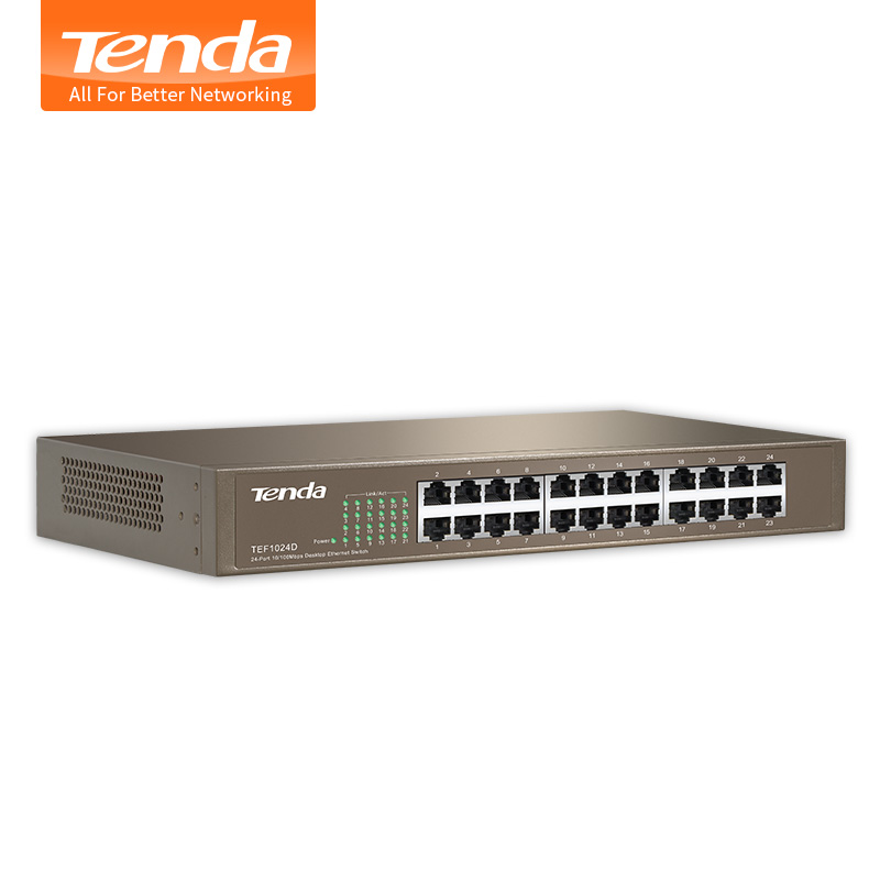 Tenda TEF1024D 24 Ports 100M Enternet Network Switch Network Monitoring Splitter Backplane Bandwidth 4.8Gbps Plug and Play(China (Mainland))
