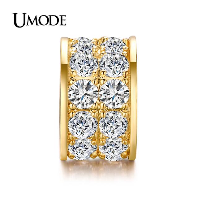 Umode роскошный позолоченный круглый бусины CZ алмаз DIY подвески для браслетов дизайн ...