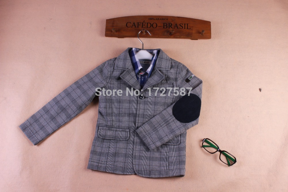 2015 new spring fashion show thin cotton college leisure suit jacket baby boy blazers plaid for(China (Mainland))