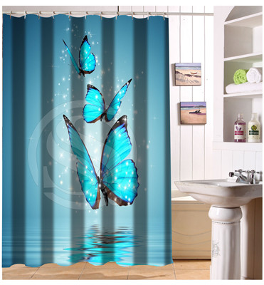 F314 Big Nice Blue Butterfly 12 HOOKS Moden Shower Curtain Bathroom Waterproof 66x72 Free Shipping U16(China (Mainland))