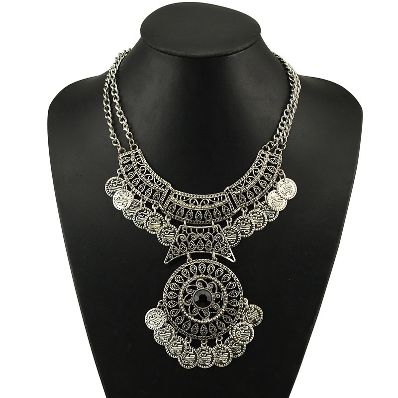 Maxi Colar Necklace Bohemian Vintage Bijoux Collier Women 2016 Gypsy Coin Tassel Collar Mujer Ethnic Colliers Plastron Necklace(China (Mainland))