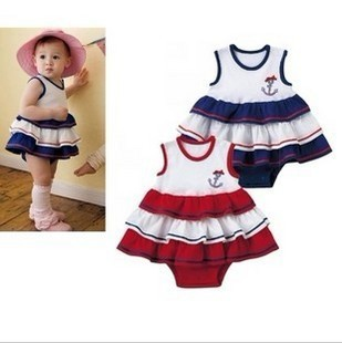 Baby clothes clothing sleeveless jumpsuit romper baby 100% cotton bag skirt marine wind<br><br>Aliexpress