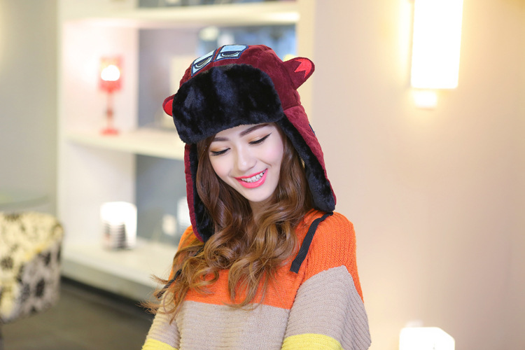 5pcs/lot Autumn Winter Cartoon Embroidered Plush Russian Fur Hats for Women Men With Earflap Gorras(China (Mainland))