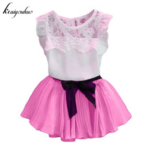 Buy keaiyouhou Children Clothes 2017 Summer Kids Girls Clothes Set Lace T-shirt+Skirt Girls Sport Suit Toddler Girls Clothing Sets for $6.38 in AliExpress store