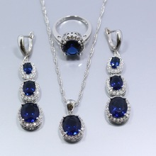 925 Sterling Silver  Flawless Blue Sapphire Jewelry Sets For Women Long Earring Necklace Pendant Ring Free Gift Box T20(China (Mainland))