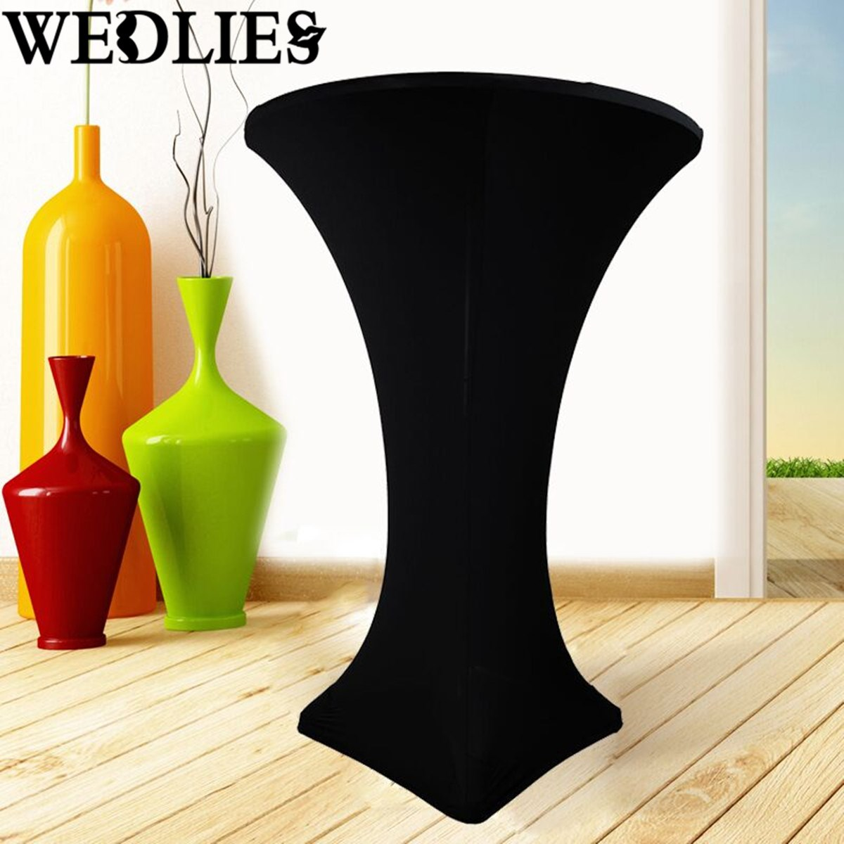 5Pcs/Set Black Spandex Stretch Table Cloth Fitted Cocktail High Bar Wedding Tablecloth Table Cover Party Events Decor Textiles(China (Mainland))