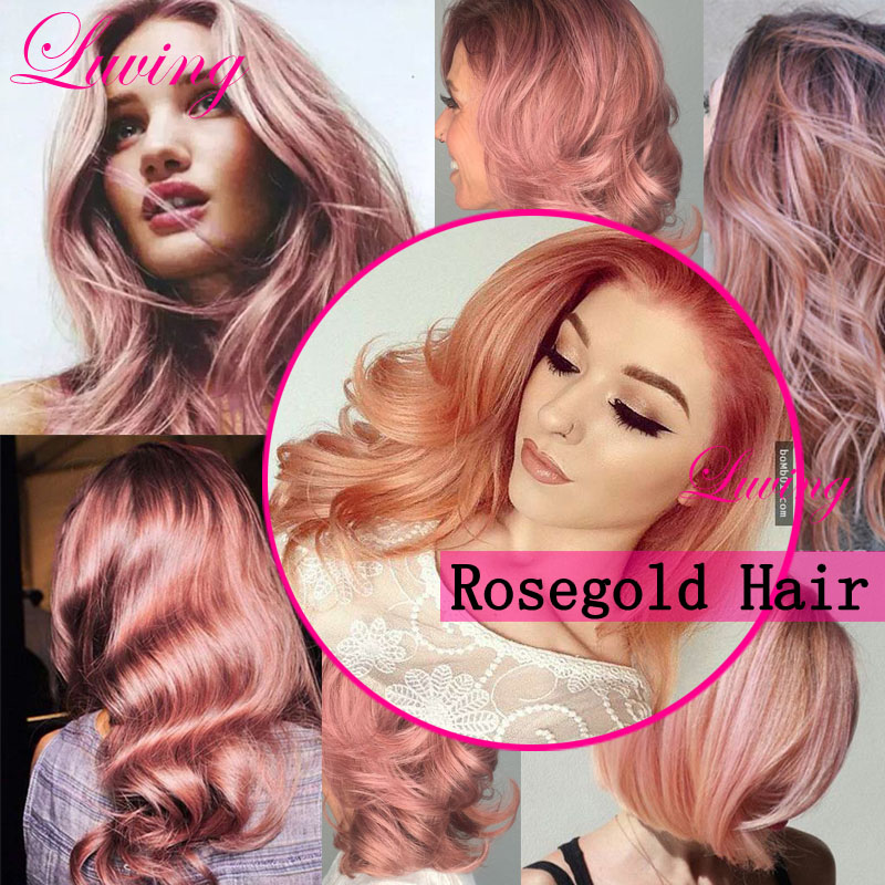 3pcs Rose Gold Brazilian Ombre Straight Hair,7A Two Tone Human Hair Weave bundles,New Pink Gold Brazilian Ombre Hair Extensions(China (Mainland))
