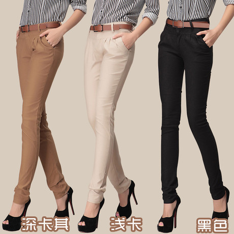 New Fashion Autumn Women Formal Skinny Khaki Pencil Pants Slim Fit Pocket Casual Cotton Office Trousers With Sashes Belt(China (Mainland))