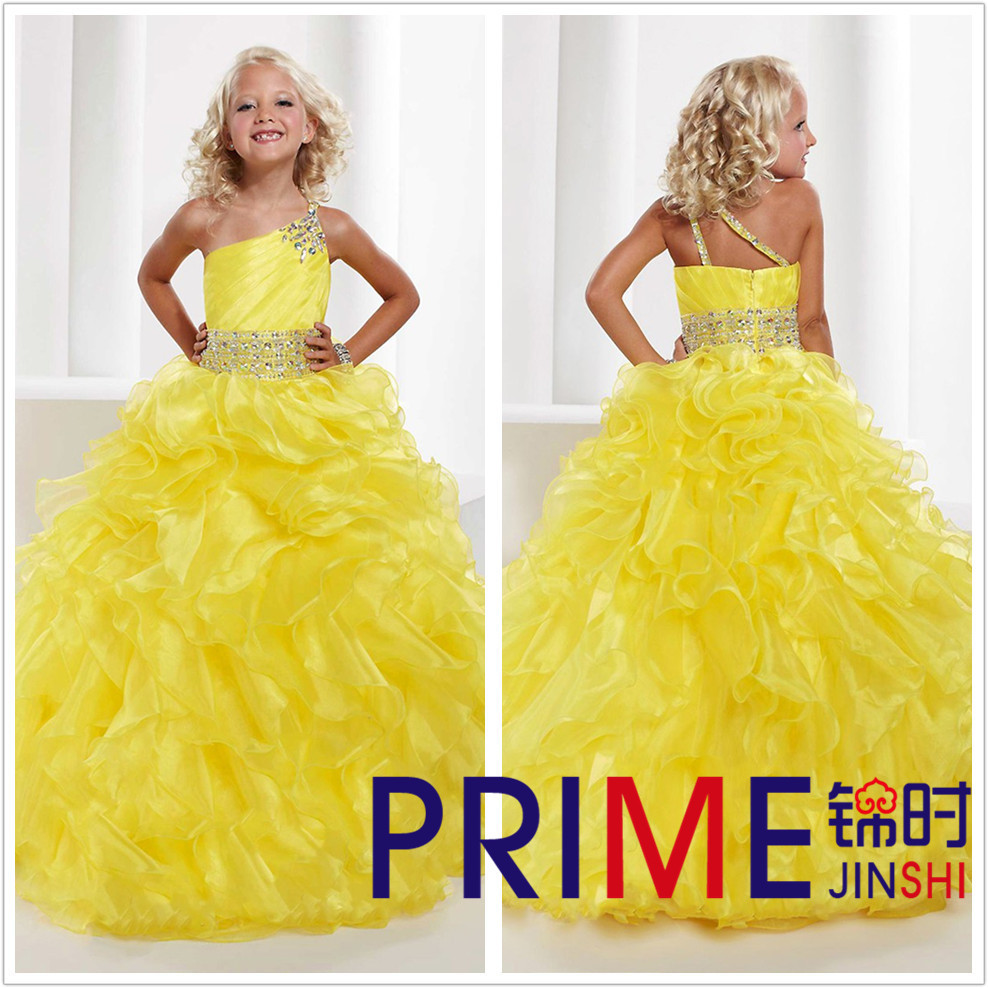 PRIME JS Free Shipping Customized Sexy Sleeveless Beading Flower Girl Dresses Splendid Organza Shimmering Crystal Ball Gowns(China (Mainland))
