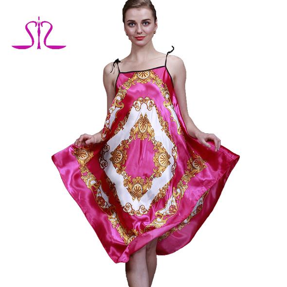 2015 Top Sale Summer Silk Sleepwear For Women Satin Print Ladies Chemise For Sleep And Leisure 10016(China (Mainland))
