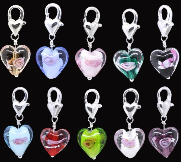 Mixed Murano Lampwork Glass Heart Clip On Charms.Fits Nice 29x12mm,sold per pack of 20 Mr.Jewelry(China (Mainland))