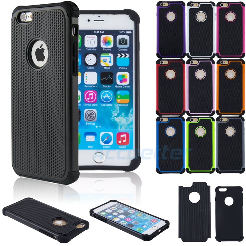 """New Shockproof 2 in 1 Cell Phone Protective Cover Dual Layer Hybrid Armor Soft Silicone Hard Back Case For iPhone 6 Plus 5.5""""(China (Mainland))"""