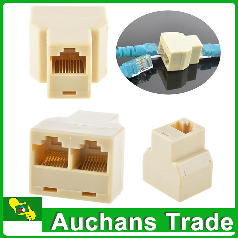 3 PCS RJ45 CAT5 6 Ethernet Cable LAN Port 1 to 2 Socket Splitter Connector Adapter PC(China (Mainland))