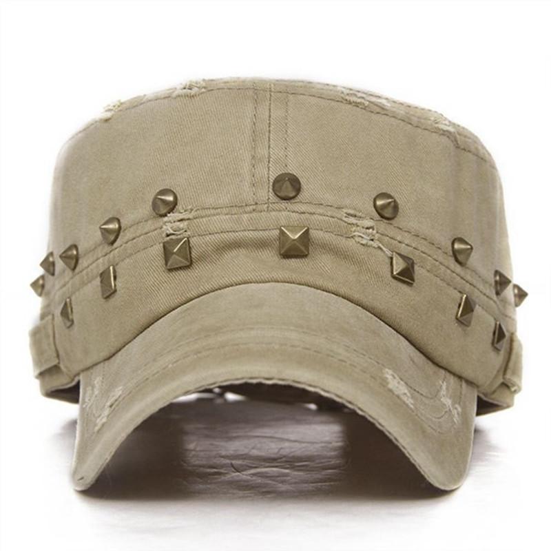 2017 Fashion Trend Military Hat Cotton Blend Rivet Cap Leisure Causual Flat Cap Men and Women Outdoor Sport Hats 5 Colors