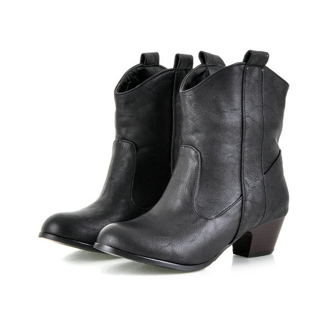 size 32-45 Autumn and winter short cylinder boots with high heels boots shoes Martin boots women ankle boots with thick heels