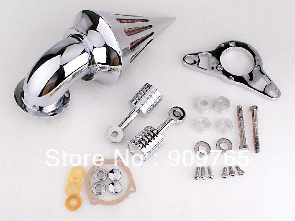 Free Shipping 1 Set Chrome Cone Spike Air Cleaner Filter Kit For Harley EFI Twin Cam Rocker Softail(China (Mainland))