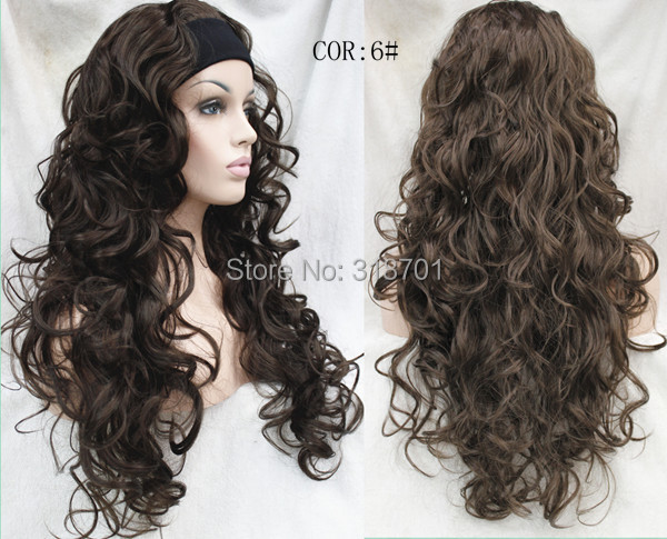 Ladies 3/4 Wig With headband Long curly Synthetic Hair Half Wig free shipping<br><br>Aliexpress