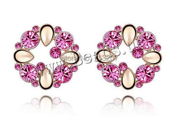 Free shipping!!!Crystal Earrings,Jewelry Accessories, Zinc Alloy, with Crystal, stainless steel post pin, Flower<br><br>Aliexpress