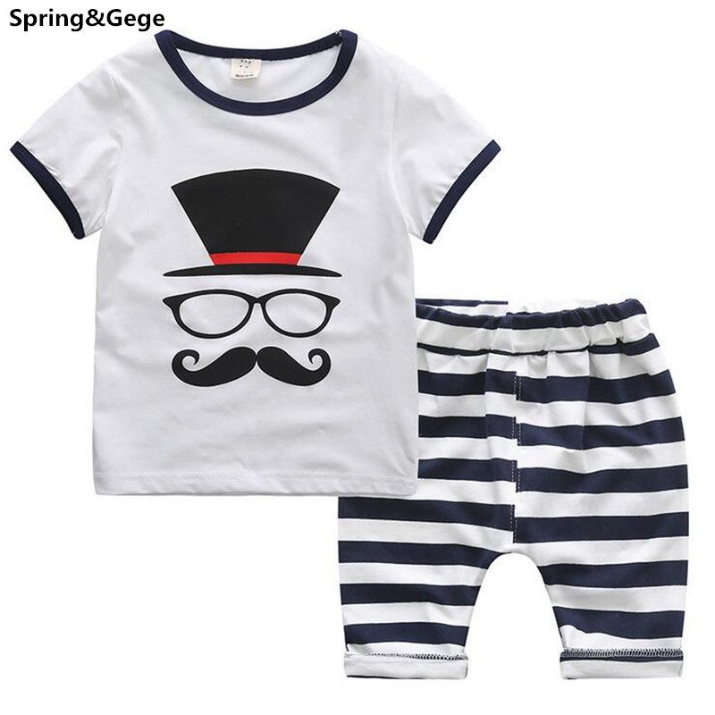 Summer Kids Clothes Boys Clothing Sets 2016 New Baby Boy Clothes White T-shirt + Stripe Shorts Children Clothing Vetement Garcon(China (Mainland))