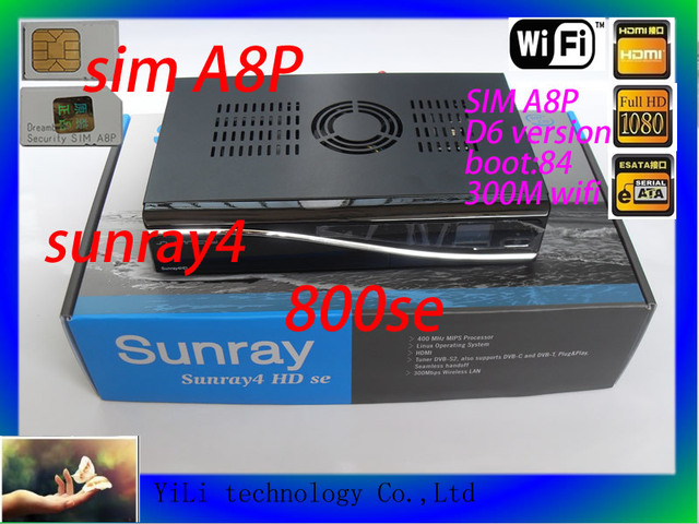 Sunray4 800HD se sr4 triple tuner DVB-S/C/T 400 mhz processor satellite receiver SIM A8Psecurity card 300Mbps WIFI free shipping