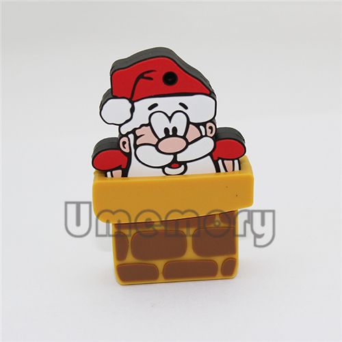 Retail genuine 2G/4G/8G/16G/32G cartoon gift chimney Santa Claus pen drive usb flash drives memory stick disk Drop Free shipping(China (Mainland))