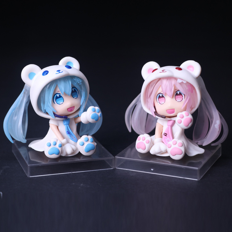 Anime Vocaloid Hatsune Miku Sakura Bear Ver PVC Action Figure Collectible Model Doll Kids Toys 10CM HMAF015 2Colors(China (Mainland))