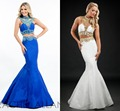 2 Piece White and Gold Prom Dresses for Gratuating Date Beaded Crystal Grey Black Royal Blue
