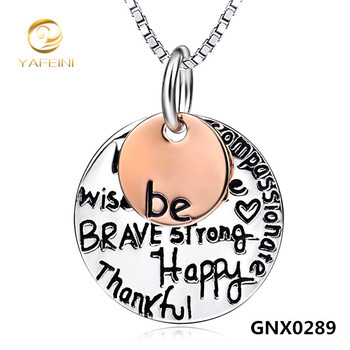 Wholesale NEW 925 Sterling Silver Inspiring Message Necklace Fine Jewelry Two Tone Engraved Pendant Necklace For Women GNX0289