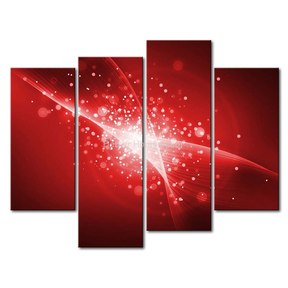 3 Piece Black White And Red Wall Art Painting Red