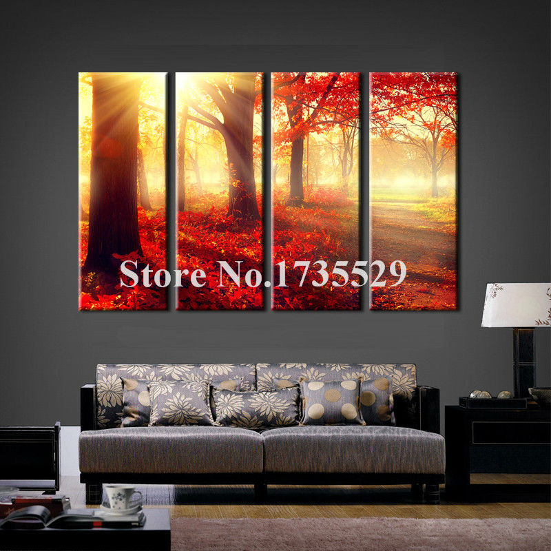 4 Piece Modern Home Decoration Sunshine Red Trees Landscape Wall Art Picture For  Bedroom Canvas Print Painting Wall picture
