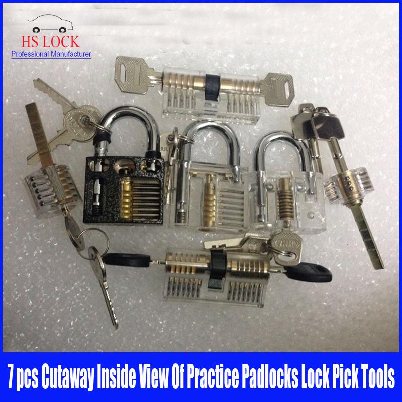 7pcs Cutaway Inside View Of Practice Padlocks lock Pick set Locksmith Training Skill Tools(China (Mainland))