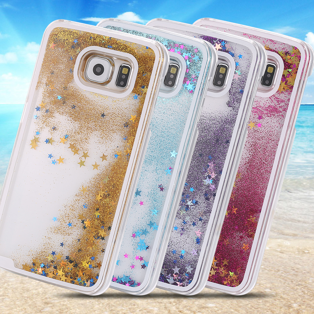 S6 Transparent Liquid Quicksand Bling Glitter Star Luxury Case For Samsung Galaxy S6 G9200 Hard Back Cover Cute Funny Capa(China (Mainland))