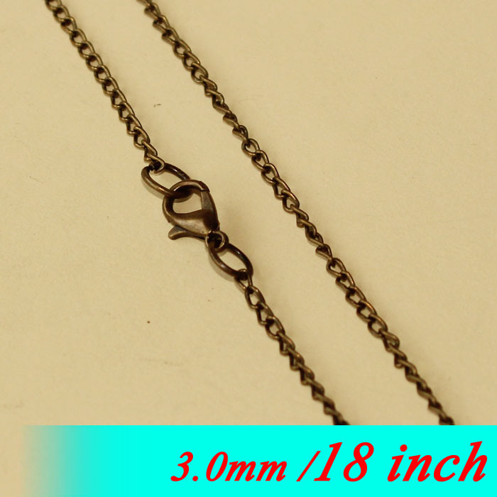 Bulk 3mm Fashion Men Jewelry Curb Links With Lobster Clasps Findings For Metal Necklace Chains Pendants 18 Vintage Bronze Tone<br><br>Aliexpress