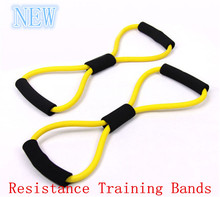2015 New Resistance Training Bands Rope Tube Workout Exercise for Yoga 8 Type Fashion 1pc free shipping