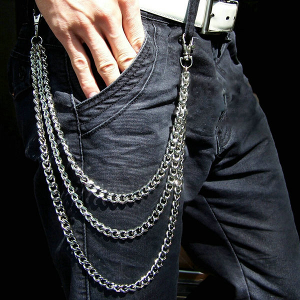 New Fashion Men Hip Hop Stylish Pants Trousers Jeans Wallet 3 Layers Chain Rock  Waist Decoration Chain (China (Mainland))