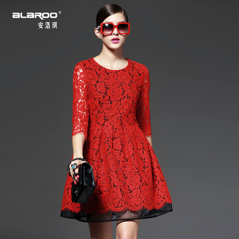 2015 European Grand Prix women new spring round neck lace stitching waist was thin sleeve dress big swing(China (Mainland))