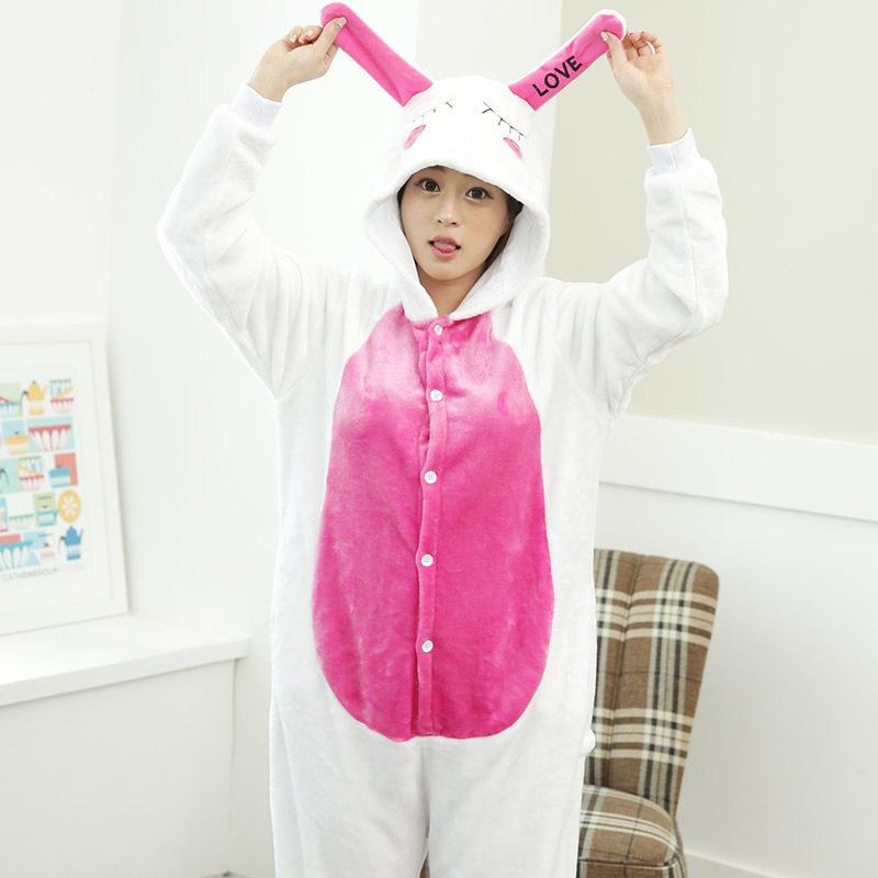 Adult girls winter flannel pajamas long ears 3D cartoon rabbit costume onesies tracksuit animal cosplay pyjamas cheap clothing(China (Mainland))