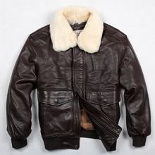 Avirex fly air force flight jacket fur collar genuine leather jacket men winter dark brown sheepskin coat pilot bomber jacket(China (Mainland))