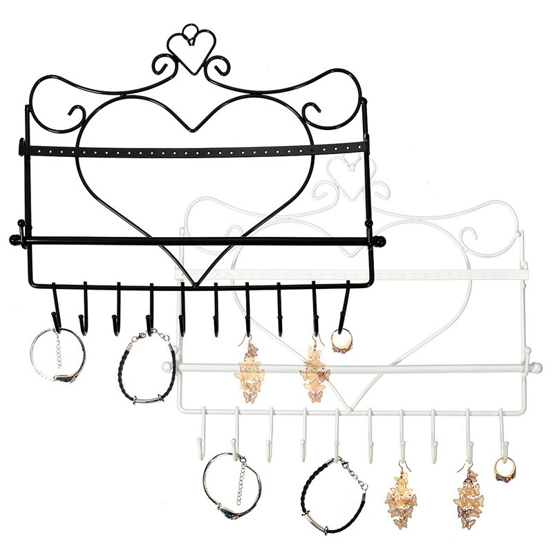 Wrought Iron Wall Mounted Frame Earrings Necklace Holder Stud Earring Accessories Storage Rack Jewelry Plaid Display Rack(China (Mainland))