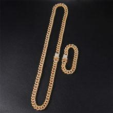 D & Z Hip Hop 13mm kubański ogniwo łańcucha dla mężczyzn Iced Out Bling Rhinestone Chaine Homme biżuteria sztuczna hurt(China)