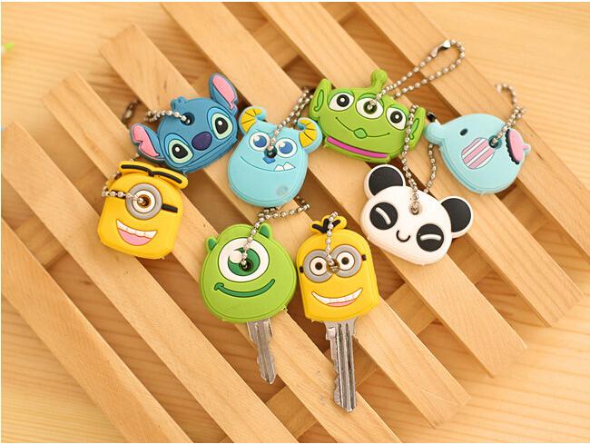 Novelty  Kawaii Cute Cartoon Animal Minions Silicone Key Caps Covers Phone Accessories Keychain Case Shell (China (Mainland))
