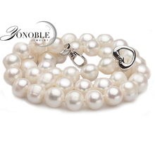 Real Freshwater pearl necklaces women wedding,white choker natural pearl necklace 925 silver jewelry big best birthday gift(China (Mainland))
